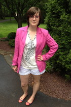 white Betsey Johnson shorts - hot pink thrifted vintage blazer