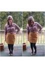Brown-vintage-top-mustard-vintage-skirt-hot-pink-rivet-sway-glasses