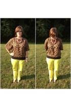 black BonLook glasses - brown leopard blouse vintage blouse
