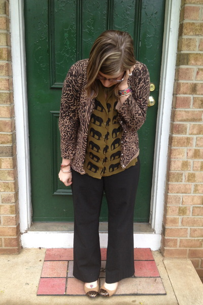 black firmoo glasses - brown Fever cardigan - olive green Forever 21 blouse