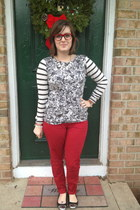 ruby red Old Navy jeans - silver Loft top - gold Dorothy Perkins necklace