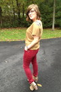 Beige-wanted-boots-red-forever-21-pants-camel-loft-top