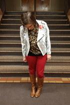brown Steve Madden boots - white Rebecca Minkoff blazer