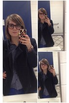 blue Gap pants - navy thrifted blazer - navy Warby Parker glasses