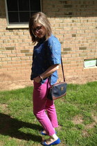 light brown thrifted bag - blue thrifted top - hot pink Gap pants