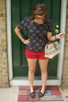 ruby red Old Navy shorts - ivory thrifted bag - dark brown Minnetonka loafers