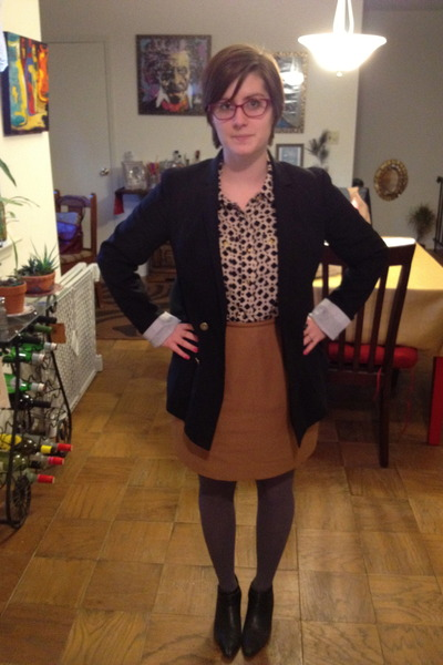 vintage boots - Gap blazer - thirfted skirt - Betsey Johnson stockings