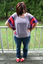 deep purple Marshalls blouse - navy Lucky Brand jeans