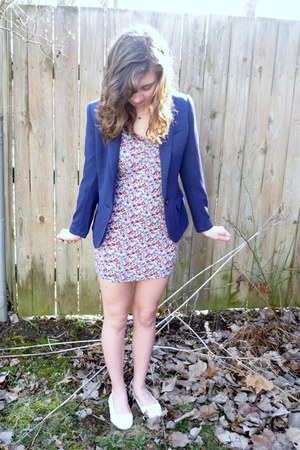 blue H&M blazer - H&M dress - white H&M flats