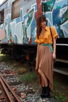 Sportsgirl skirt - vintage shirt - vintage belt