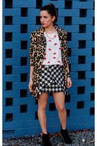 hello parry skirt - vintage coat - Zara top