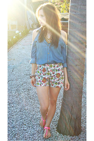 Zara shorts - blue Sportsgirl shirt - bubble gum Zara flats