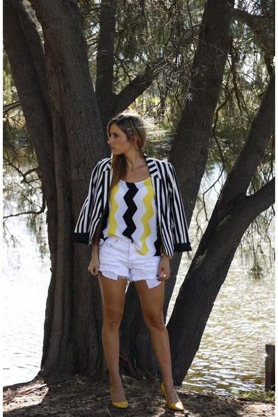 blazer - white shorts - H&M top
