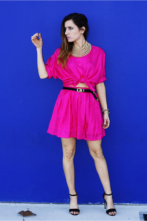 hot pink vintage top - hot pink vintage skirt