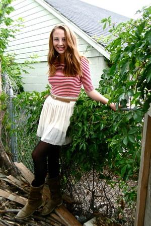 Clarks boots - J Crew shirt - Forever 21 skirt