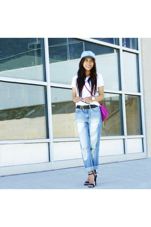 Forever 21 jeans - light blue Forever 21 hat - Uniqlo shirt - H&M bag