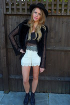 Office boots - black Nasty Gal hat - Topshop shorts - vintage cardigan - white M