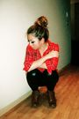 Red-marshalls-shirt-black-httpwwwizzuecom-leggings-urban-outfitters-boots