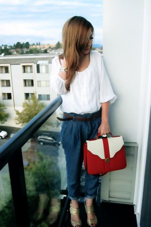white Zara blouse - blue Zara pants - silver D&G accessories - red purse - gold