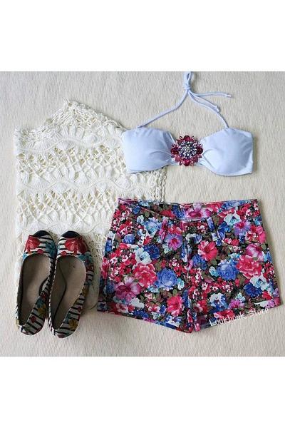 floral print Lookbook Store shorts - flower Lookbook Store swimwear