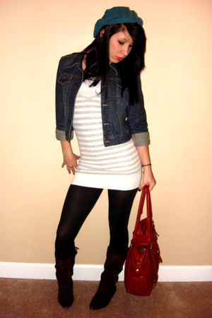 silver hollister top - Express jacket - black Express tights - brown Charlotte R
