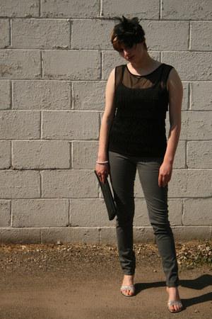 black fringed Topshop shirt - black clutch vintage bag