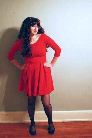 red Zara dress - black tights - blue American Eagle flats