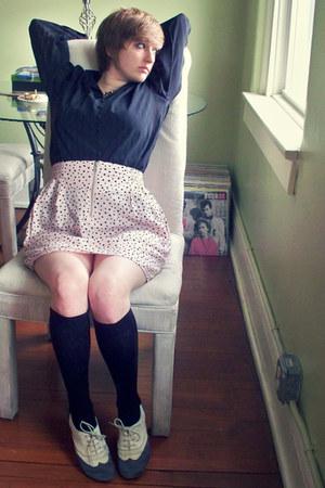 black chiffon thrifted vintage blouse - black stockings