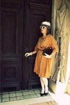 orange vintage dress Chiha-Rosenfeld Inc dress - off white vintage thrifted vint