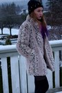 Black-studded-knit-diy-hat-tan-faux-fur-consignment-coat