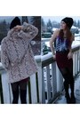 Tan-faux-fur-consignment-coat-black-studded-knit-diy-hat