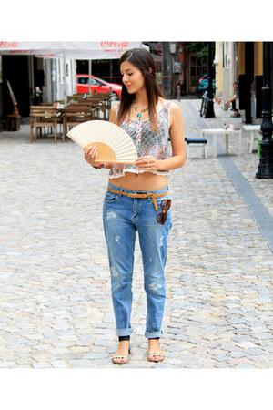 cute Bershka top - boyfriend jeans pull&bear jeans - Zara sunglasses