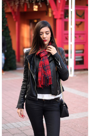 ruby red plaid H&M scarf - black faux leather Zara jacket