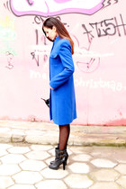 blue wool Andrews coat - dark gray leather Levis boots - Mango blouse