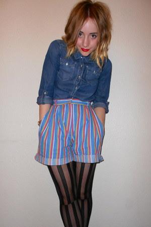 thrifted shorts - denim H&M shirt - striped Miss Selfridge tights