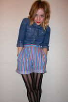 thrifted shorts - denim H&M shirt - striped Miss Selfridge tights