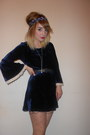 Topshop-dress-nude-polka-dot-primark-tights-navy-thrifted-belt