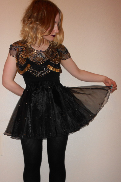sequined Primark cape - black and white H&M vest - studded tutu Primark skirt