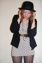nude polka dot  dress - Urban Outfitters hat - light cotton new look blazer