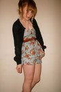 Peplum-thrifted-romper-vintage-belt-miss-selfridge-cardigan