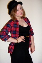 checkered Topshop shirt - black maxi Topshop dress - Urban Outfitters hat