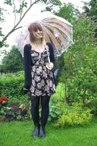thrifted boots - Moschino belt - umbrella Lulu Guinness Fulton accessories