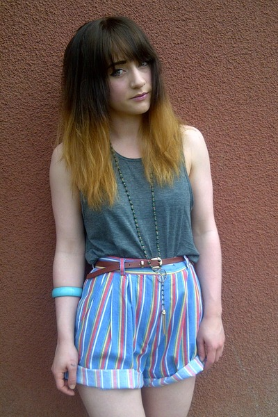 Topshop necklace - thrifted shorts - Topshop vest