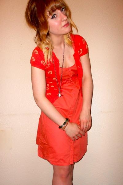 new look dress - H&M cardigan - vivienne westwood necklace