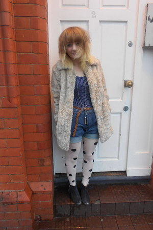 faux fur Topshop coat - Topshop boots - Primark tights - mens fcuk DIY shorts