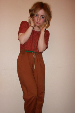 green peace Topshop necklace - Topshop pants - green skinny Primark belt