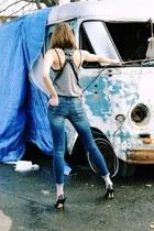 Zara jeans - Tim Gowen belt - calvin klein bra - Alexander Wang top
