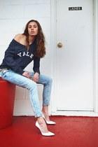 Zara jeans - Yale University sweatshirt - vintage belt - stuart weitzman heels