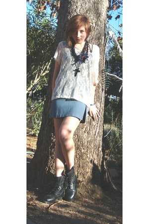 combat boots boots - white lace top Nordstrom shirt - blue thrifted vintage skir