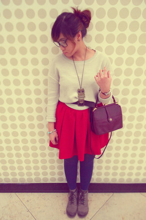 Promod necklace - heather gray thrifted boots - navy Vero Moda leggings